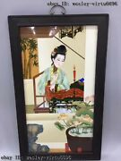 China Wooden Inlaid Porcelain Ladies Girl Oriental Woman Female Screen Pingfeng