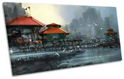 Harbour Fishing Village Picture Panoramic Canvas Wall Art Print Blue