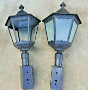 2---units  Outdoor Lantern Street Lights, Heavy Duty Out Side Lamps And Base.