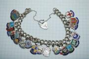 Vintage Sterling Silver Charm Chain Bracelet Fashion Jewelry Stamp England 40 Gr