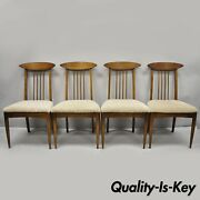 Set Of Four Vintage Mid Century Modern Walnut Spindle Back Dining Room Chairs