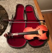 Amazing Condition Miniature Real Wood Violin With Bow And Case