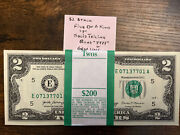 One Stack Of Fancy Two Dollar 2 Notes Crisp Uncirculated Bep Pack Out Of Brick