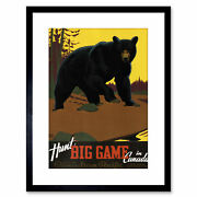 Bear Hunting Canadian Pacific Canada Vintage Framed Art Print 9x7 Inch