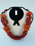 Moroccan Antique Amber Necklace Baltic Natural Handcrafted Beads Genuine Round