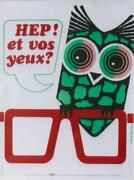 Original Vintage Poster Wear Spectacles Protect Eyes Owl 1979