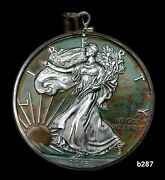 Silver American Eagle Coin With Bezel For Pendant Necklace B287