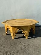Antique Moroccan Coffee Table Inlaid Carved Wood Tray Rustic Primitive Wood Boho