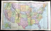 Original Antique 1886 Large Color Map Of Usa United States Great Detail Rare