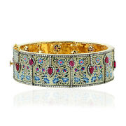 18k Gold 925 Sterling Silver 6.63ct Diamond And Ruby Bangle Enamel Jewelry