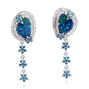 Solid 18k White Gold 3.89ct Doublet Opals And Diamond Dangle Earrings Jewelry