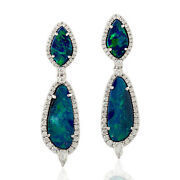 18k White Gold 7.38ct Prong Set Doublet Opals And Diamond Dangle Earrings Jewelry