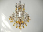C 1920 French Champagne Yellow Murano Drops Crystal Prisms Swags Chandelier