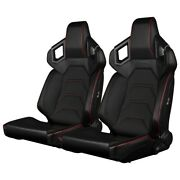 Braum - Black Leatherette Alpha-x Low Base Racing Seats W/ Red Stitching - Pair