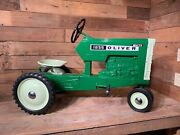 Vintage Oliver 1855 Pedal Tractor Ertl Original Toy Restored Farmall White Jd