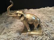 Elephant Statue Bookend Door Stop Vintage Antiquetrunk Up Good Luck Silver Gold
