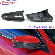 Carbon Fiber Mirror Cover For 16+ Honda Civic 10th Side Wing Casing Shell M Type