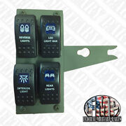 Lighted Humvee 4-gang Green Rocker Switch Panel With 24v Switches M998