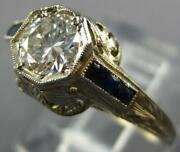 Antique .60ct Old Mine Diamond And Aaa Sapphire 14kt White Gold 3d Engagement Ring