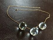 Victorian 14k Large Orb Crystal Quartz Pools Of Light Ball Sphere Chain Necklace