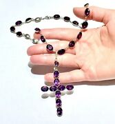 Big Georgian Riviere Sterling Silver Amethyst Paste Necklace And Cross Pendant
