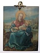 17th Century Oil On Copper Signed Virgin To The Child Saint Francis