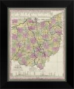 Vintage Map Of Ohio With Its Canals, Black Framed Wall Art Print, Map Home Decor