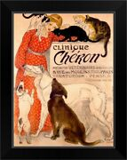 Clinique Cheron Vintage Poster By Black Framed Wall Art Print Cat Home Decor