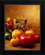 Red And Yellow Fresh Market Tomatoes Black Framed Wall Art Print, Vegetables