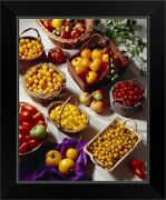 Baskets Of Mixed Variety Tomatoes Red Black Framed Wall Art Print, Vegetables