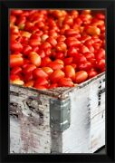 Roma Tomatoes At An Outdoor Market In Black Framed Wall Art Print, Vegetables