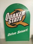Quaker State Sign Vintage Metal 2 Sides With Graphic Drive Smart