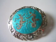 Vintage Siam Sterling Silver Tourquoise Enamel Brooch