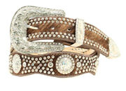 Nocona Western Womens Belt Leather Scalloped Crystal Concho Hair Brown N3416102