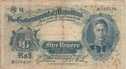 Mauritius Banknote P22-8426 5 Rupees Geo Vi See Scan We Combine