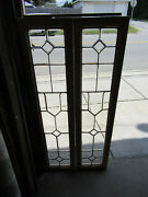 Pair Antique Full Beveled Etched Glass Sidelites Windows 61.25 Tall Salvage