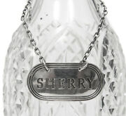 Vintage Solid Hallmarked Silver Decanter Label - Sherry - Turner And Simpson 1964