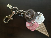 New Coach Leather Ice Cream Cone Pave Crystal Key Fob Keyring Keychain 93171