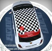 Fits Fiat 500 Abarth Vinyl 3m Roof Decal Checkered Flag Panel Sticker Ft-012a