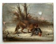 Antique Oil Painting 19th Century Fox Hunting Rooster Circle Of Gustave Courbet
