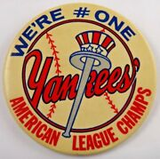 1970and039s Ny Yankees American League Champs Large Original Stadium 3.5 Pin Button