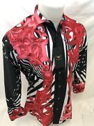 Mens Premiere Long Sleeve Button Down Dress Shirt Red Scroll Leaf Diamonds 521