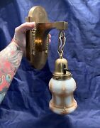 Single Brass Antique Mission Arts And Crafts Wall Sconce Rewired Nice Shade 86e