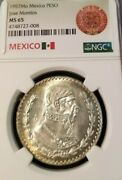 1957 Mexico Silver Un Peso Jose Morelos Ngc Ms 65 First Year Beautiful Luster
