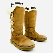 Ugg Bailey Button Tall 1873 Brown Shearling Boots Womens Size 7