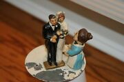 Antique Automaton Wedding Cake Topper Metal Mothers Hand Face Moves Measures 4.