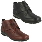 Padders Tina Casual Leather Smart Ladies Winter Ankle Boots Comfort Riptape Wide