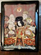 7 Vintage Japanese Lucky Gods Hand Painted Statues + Wooden Box W/ Silk Figures