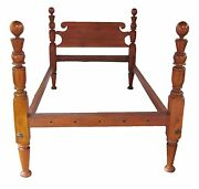 18th Century Antique Federal Period Cannonball Four Poster Bed Fine Turnings