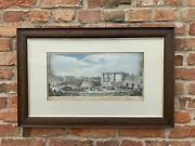 Rare 18th Century Copper Plate Print Paris A View Of The Bastile At St Anthonys